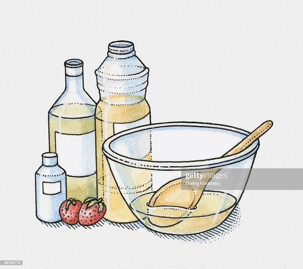 Bottles of olive oil, vegetable oil and coconut oil and two strawberries by a mixing bowl (making moisturiser) : stock illustration