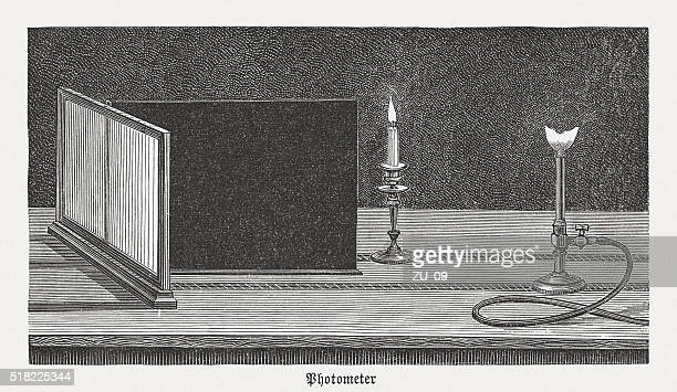 bouguer's photometer (c. 1729), wood engraving, published in 1880 - light meter stock illustrations, clip art, cartoons, & icons
