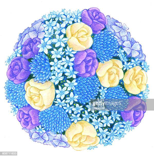 Bouquet of blue and yellow flowers on white