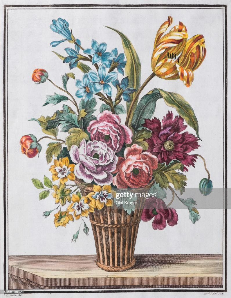 Bouquet of flowers in wicker basket handcoloured copper engraving by bouquet of flowers in wicker basket hand coloured copper engraving by jean jacques the izmirmasajfo