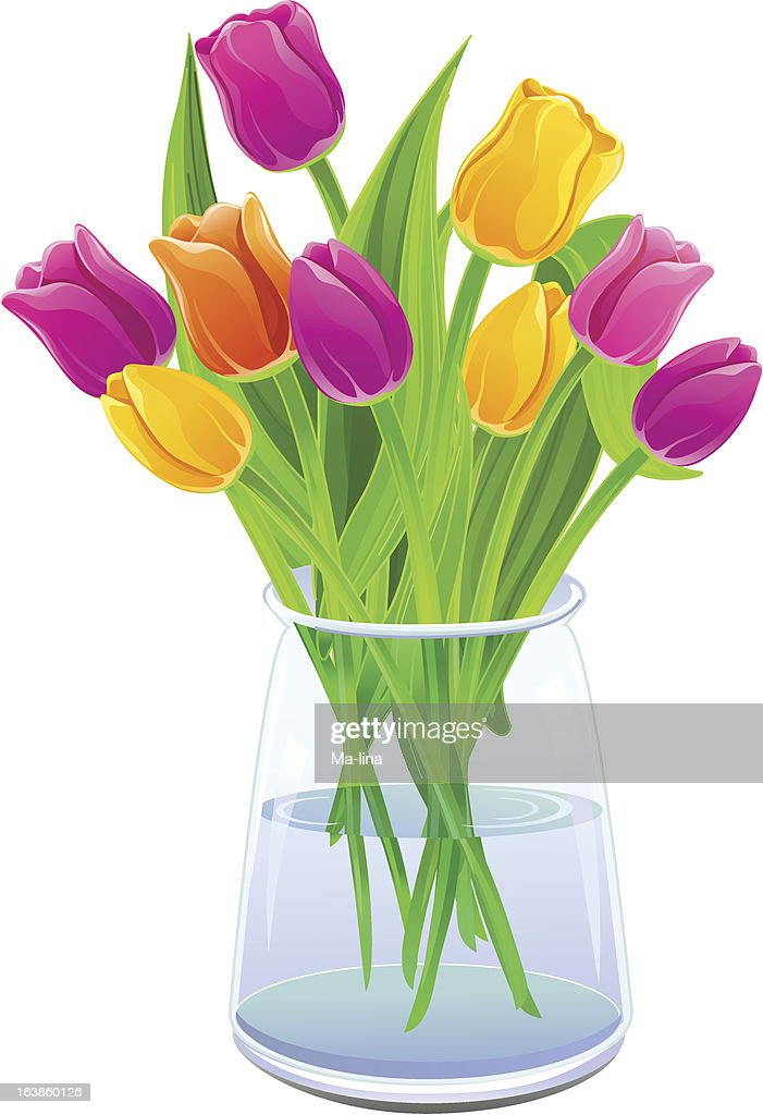 Bouquet of multi-colored tulips in a vase