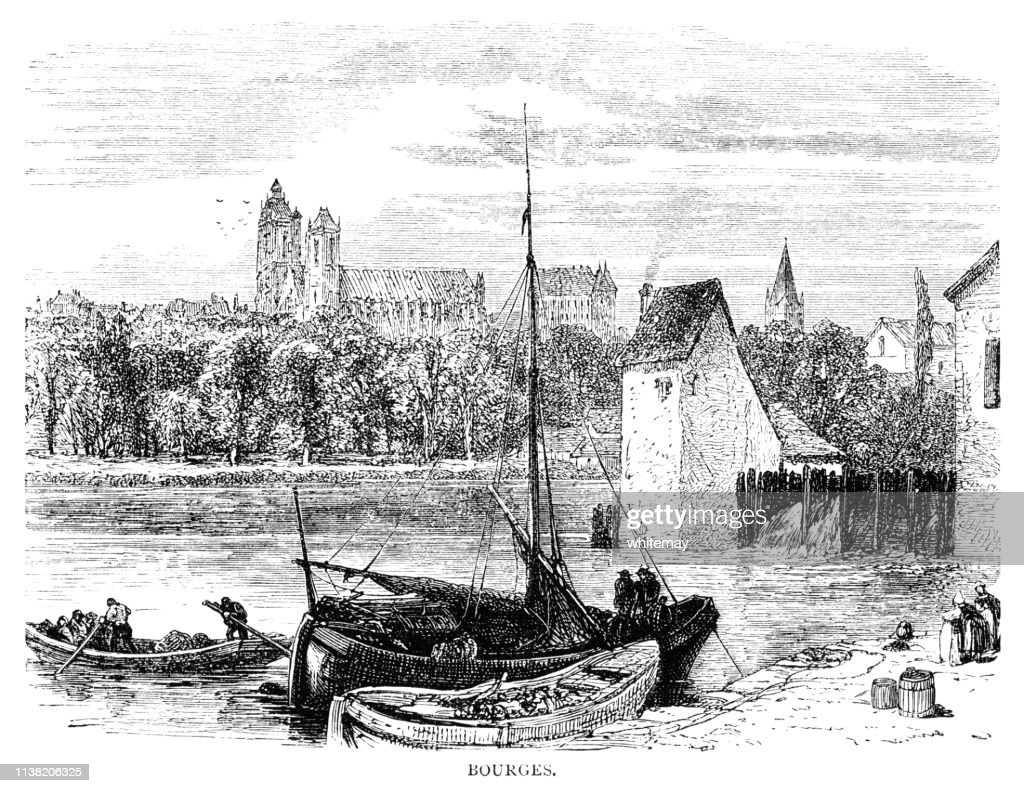 Bourges and Yèvre river, Central France : stock illustration