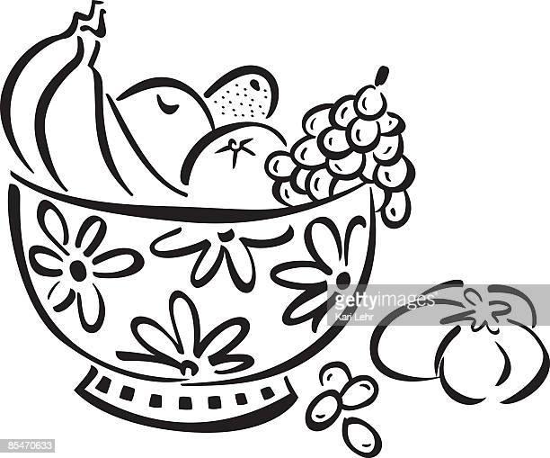 ilustrações de stock, clip art, desenhos animados e ícones de a bowl full of fruit - cesta de fruta