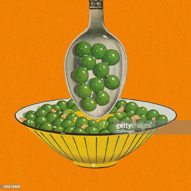 bowl of peas - green pea stock illustrations