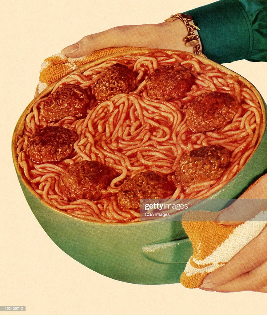 Bowl Of Spaghetti And Meatballs High-Res Vector Graphic ...