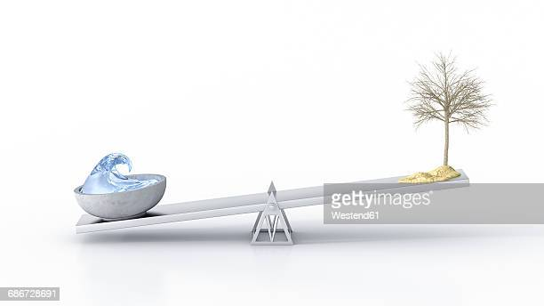 Bowl of water and dried out tree on seesaw against white background