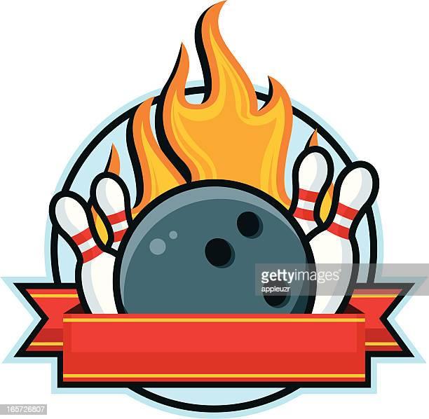 bowling ball emblem - bowling ball stock illustrations, clip art, cartoons, & icons