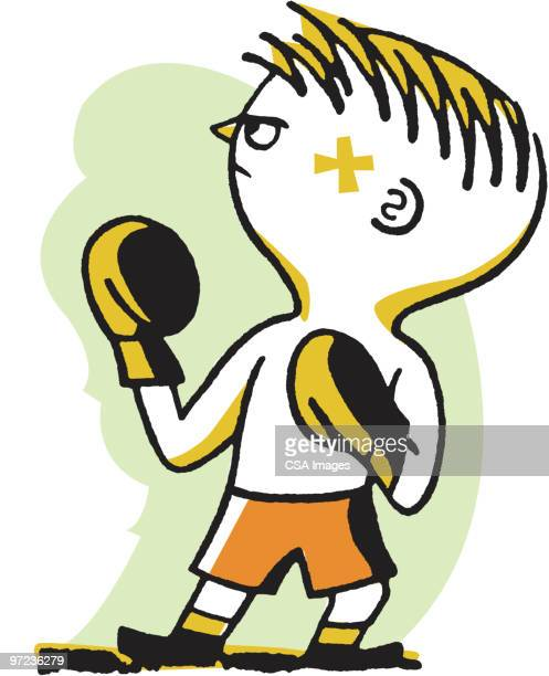 boxer - fighting stance stock illustrations, clip art, cartoons, & icons