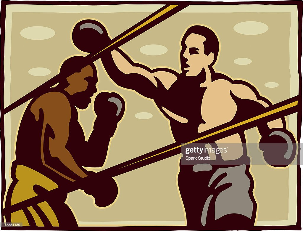 Boxers during a fight in a boxing ring : Stock Illustration