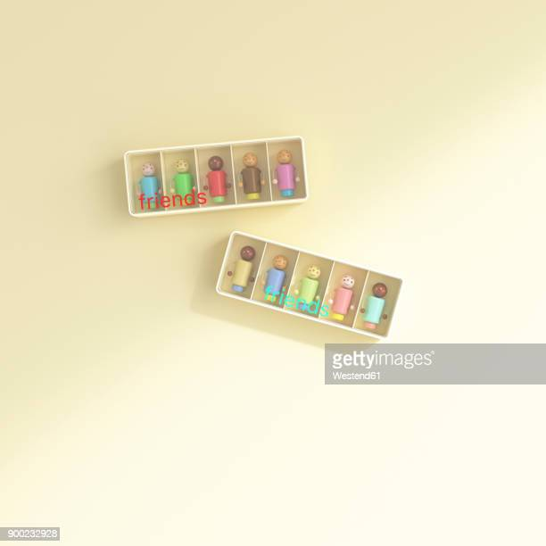 boxes with manikins of all skin colours, multicultural networking - social media stock illustrations