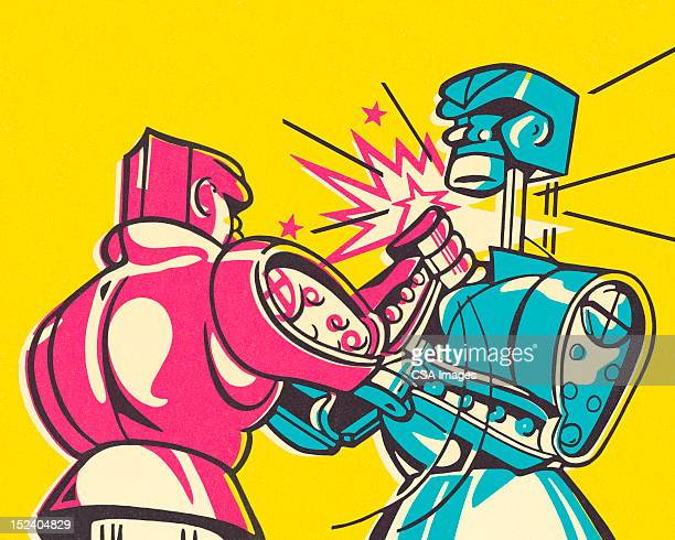 boxing robots - robot stock illustrations