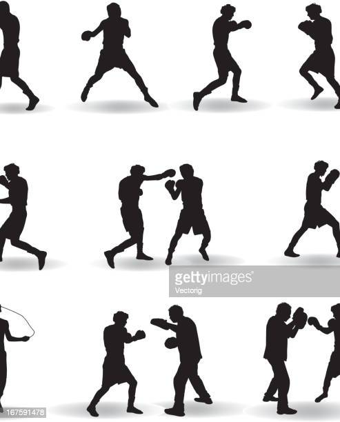 boxing silhouette - boxing stock illustrations