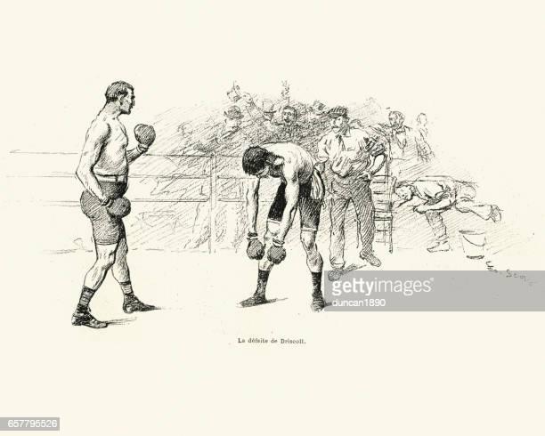 illustrations, cliparts, dessins animés et icônes de vs boxe savate, match entre driscoll et charlemont 1899 - gant de boxe