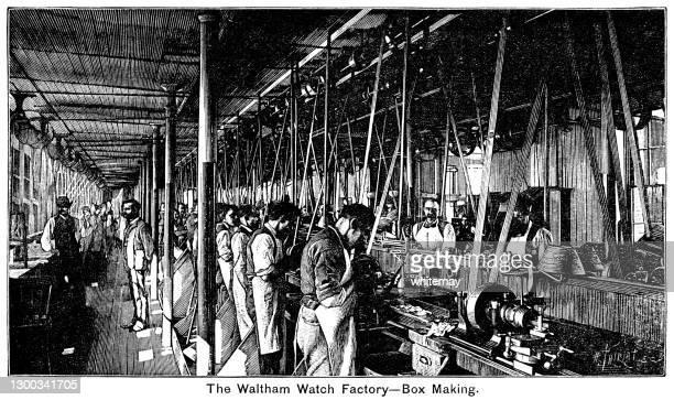 ウォルサム・ウォッチ工場での箱作り - 19世紀風点のイラスト素材/クリップアート素材/マンガ素材/アイコン素材