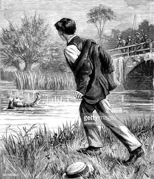 Rapaz sobre salvar uma rapariga drowning de um rio