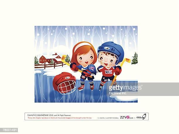 boy and a girl holding ice hockey sticks - ice hockey glove stock illustrations