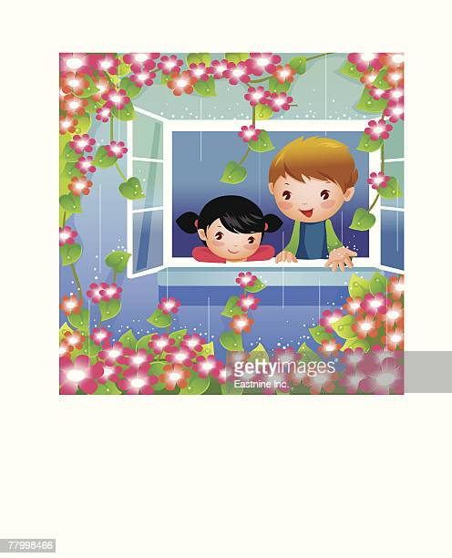 ilustraciones, imágenes clip art, dibujos animados e iconos de stock de boy and a girl looking out of a window - ventana abierta