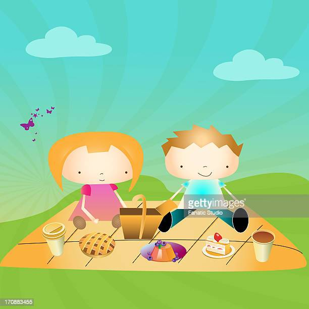 boy and a girl on a picnic in a park - marmalade stock illustrations, clip art, cartoons, & icons