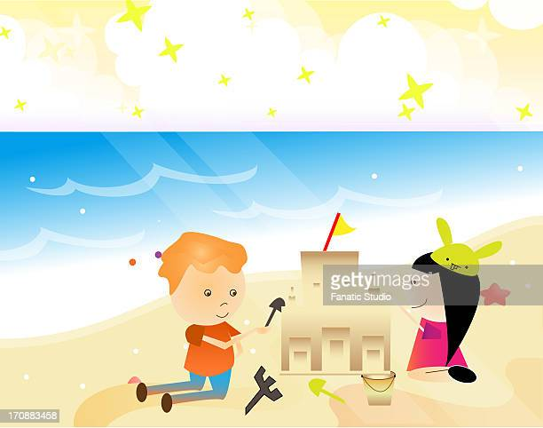 boy and a girl playing with sand on the beach - earthenware stock illustrations, clip art, cartoons, & icons