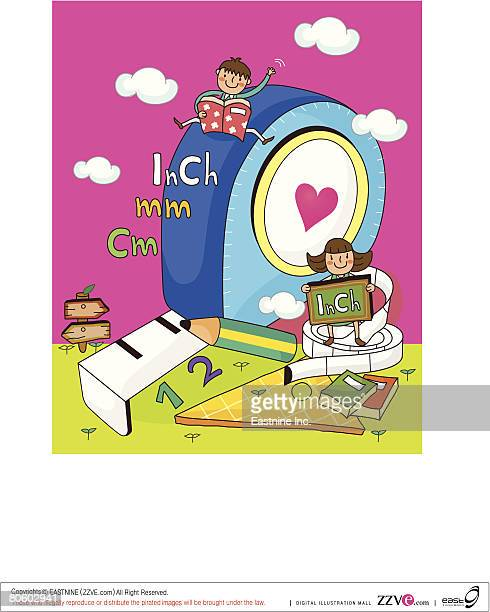 boy and a girl sitting on measuring tapes - inch stock illustrations
