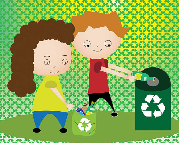 Boy and a girl throwing plastic bottles in recycling bin