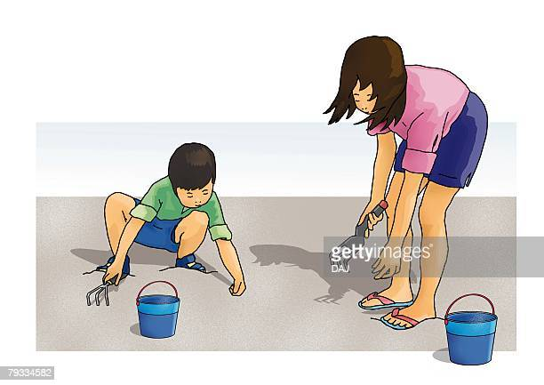 Boy and girl digging clams at the beach, front view, side view