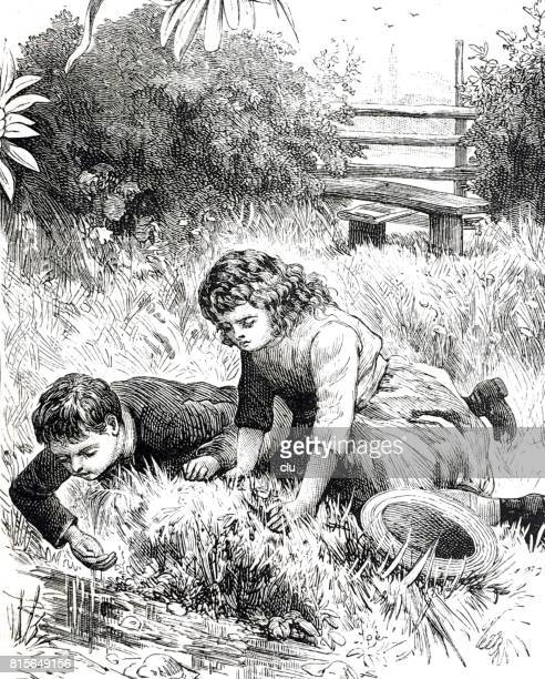 Boy and girl lying down on meadow water scooping with hand out of the river