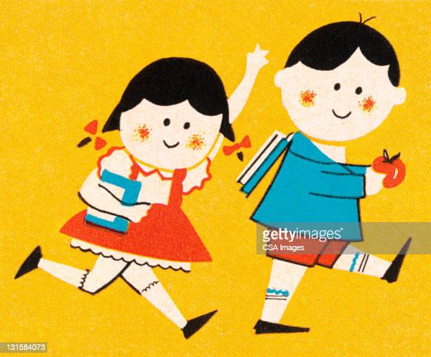 boy and girl on their way to school - friendship stock illustrations
