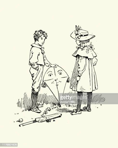 boy and girl playing outdoors, kite and cricket bat, victorian - kite toy stock illustrations