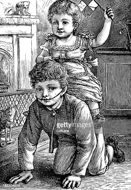 illustrazioni stock, clip art, cartoni animati e icone di tendenza di ragazzo e ragazza che giocano-incisione vittoriano - portare a cavalluccio