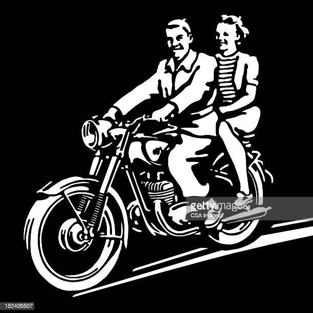 boy and girl riding motorcycle - vintage motorcycle stock illustrations