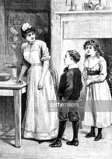 boy and girl standing in the kitchen talking to a woman standing a the table - maid stock illustrations, clip art, cartoons, & icons