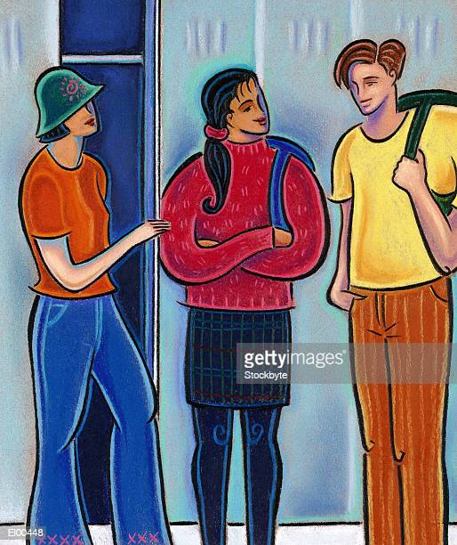 Boy and girl talking while friend is in locker