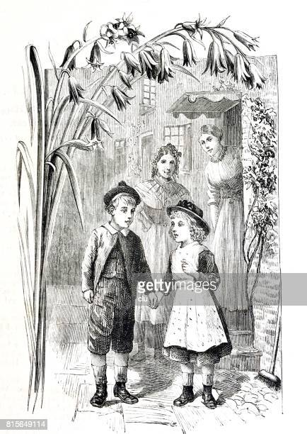 Boy and girl walking away from home, mother and maid standing at the door looking
