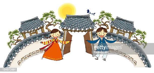 ilustraciones, imágenes clip art, dibujos animados e iconos de stock de boy and girl welcoming home - cultura coreana