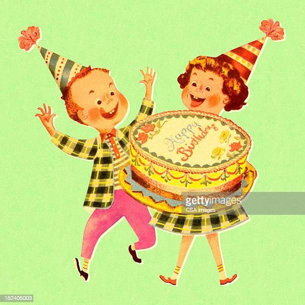 stockillustraties, clipart, cartoons en iconen met boy and girl with birthday cake - happy birthday vintage