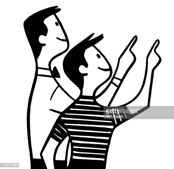 Boy and Man Pointing Up