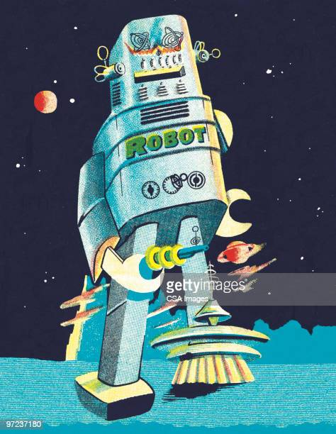 boy astronaut - robot stock illustrations