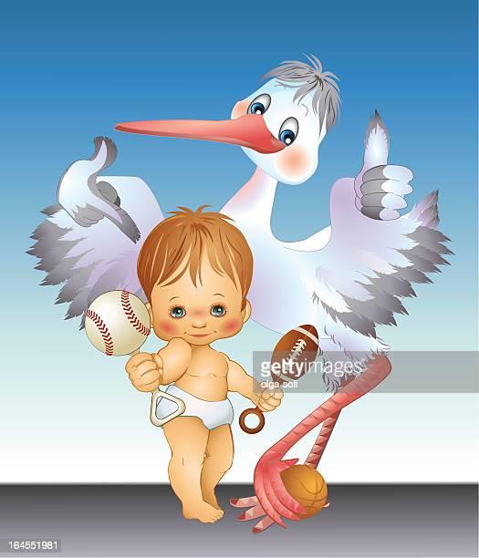 ilustrações de stock, clip art, desenhos animados e ícones de 100%-bebé menino - bebe chegando