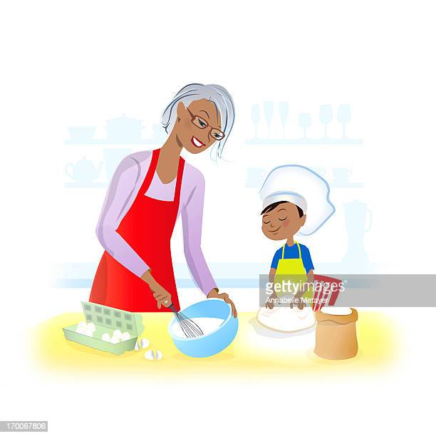 A boy baking with his grandmother
