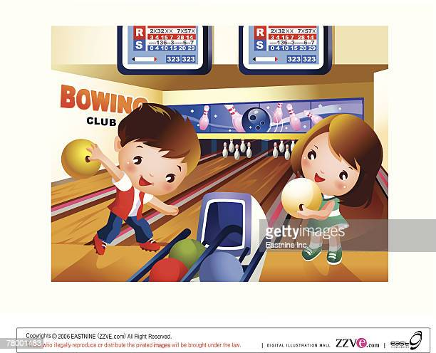 Boy bowling in bowling alley with a girl holding a ball