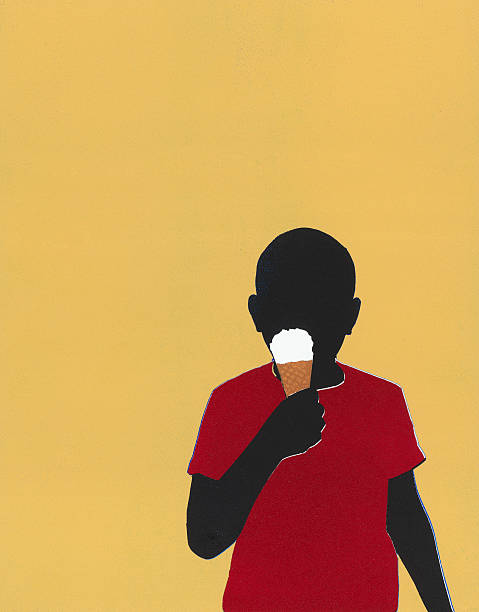 Boy eating ice cream cone