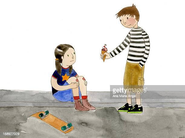 ilustraciones, imágenes clip art, dibujos animados e iconos de stock de a boy giving a girl ice cream - gracias por su atencion