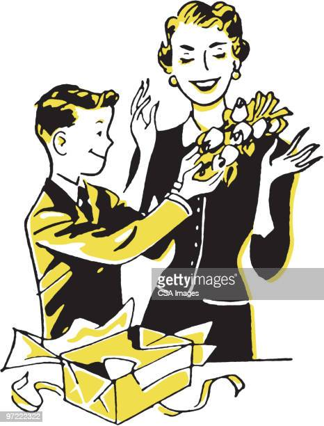 boy giving flowers - mothers day stock illustrations