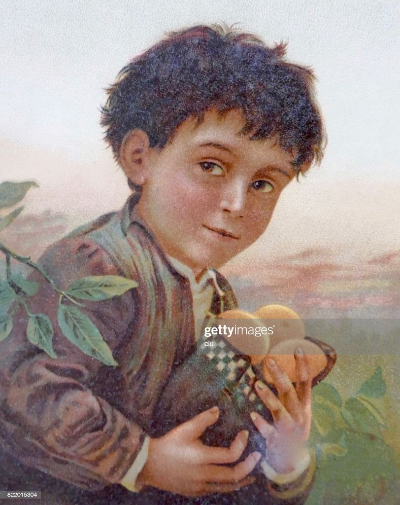 Boy holding a bag filled with fruits : stock illustration
