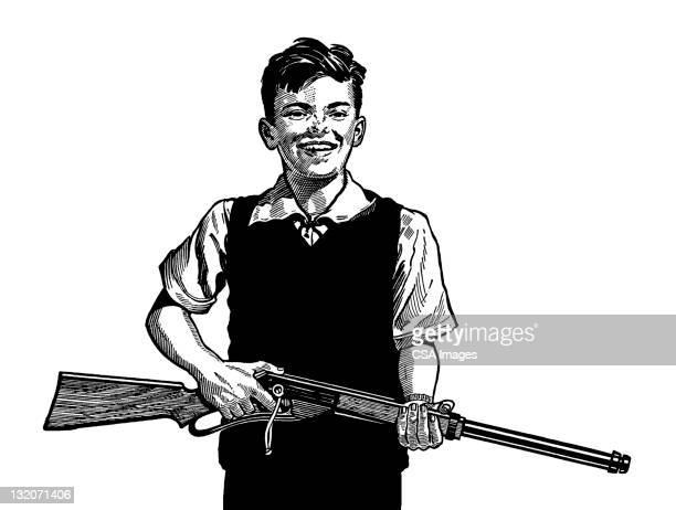 ilustraciones, imágenes clip art, dibujos animados e iconos de stock de boy de sujeción de pistola - maltrato infantil
