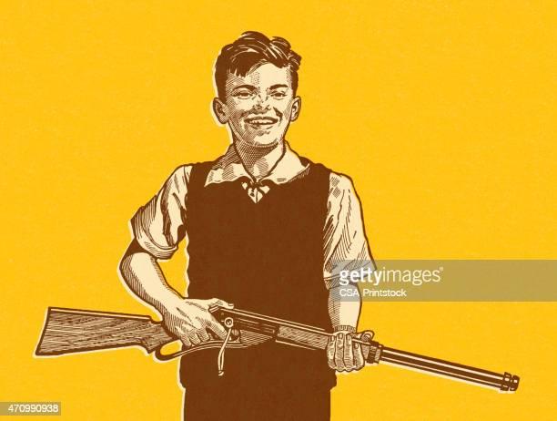 ilustraciones, imágenes clip art, dibujos animados e iconos de stock de boy retención del rifle - maltrato infantil