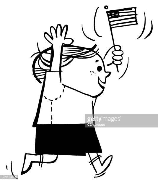 boy - national flag stock illustrations