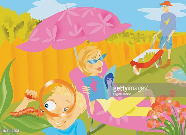 boy in a garden watching an insect with a magnifying glass and his mother reading a magazine and his father pushing a wheelbarrow - lying on back stock illustrations, clip art, cartoons, & icons