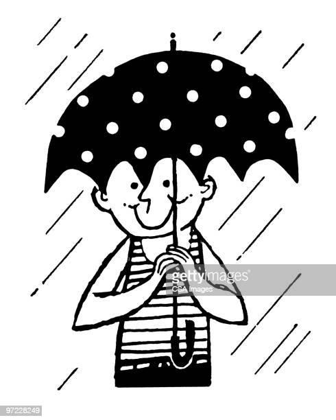 boy in rain - rain stock illustrations